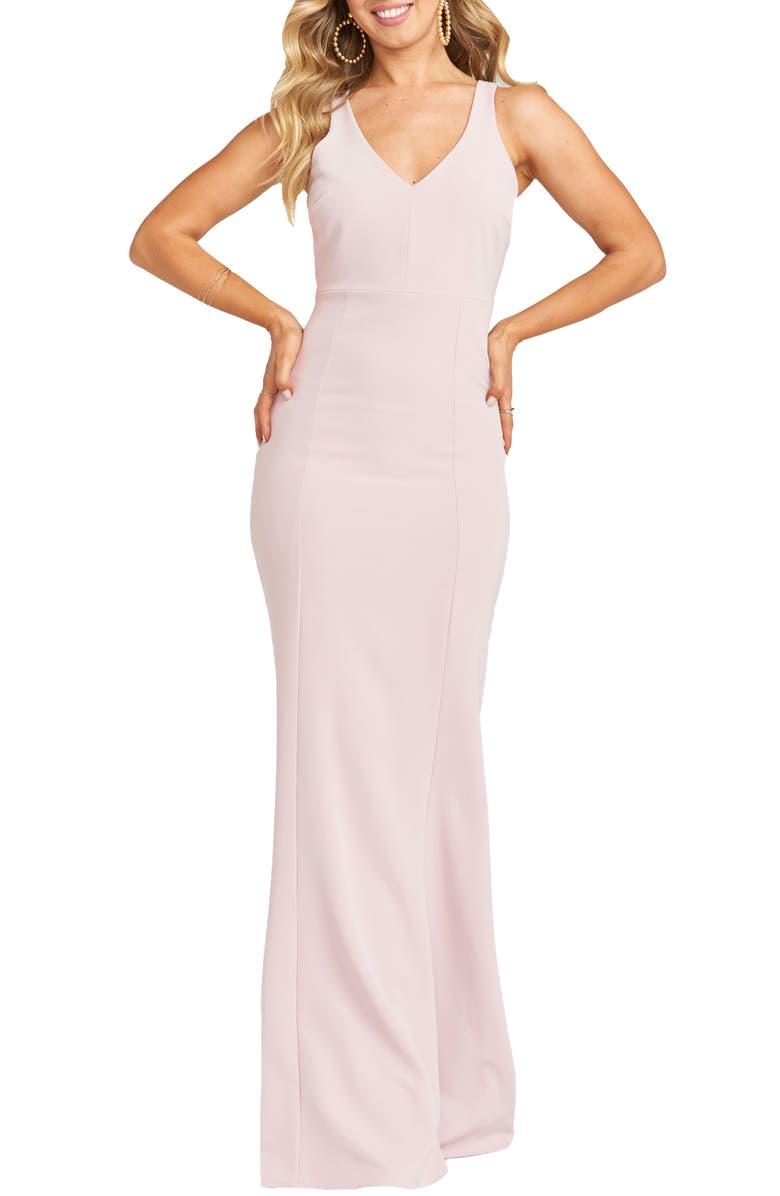 SHOW ME YOUR MUMU Milan Mermaid Evening Gown, Main, color, VINTAGE ROSE STRETCH CREPE
