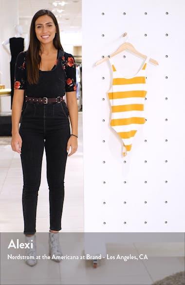 x Claudia Sulewski Stripe Rib Thong Bodysuit, sales video thumbnail
