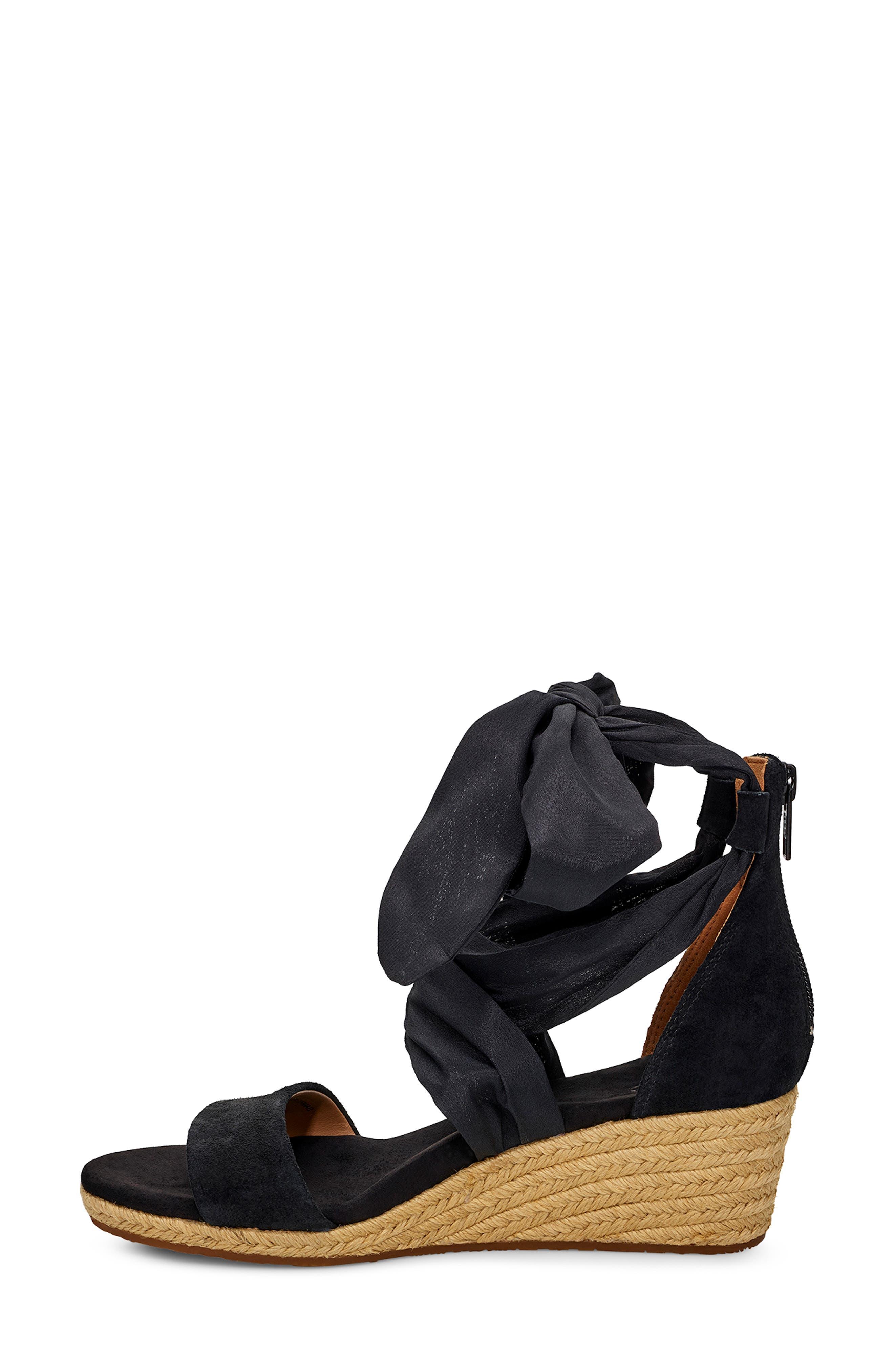 ,                             Trina Ankle Tie Wedge Sandal,                             Alternate thumbnail 6, color,                             BLACK LEATHER