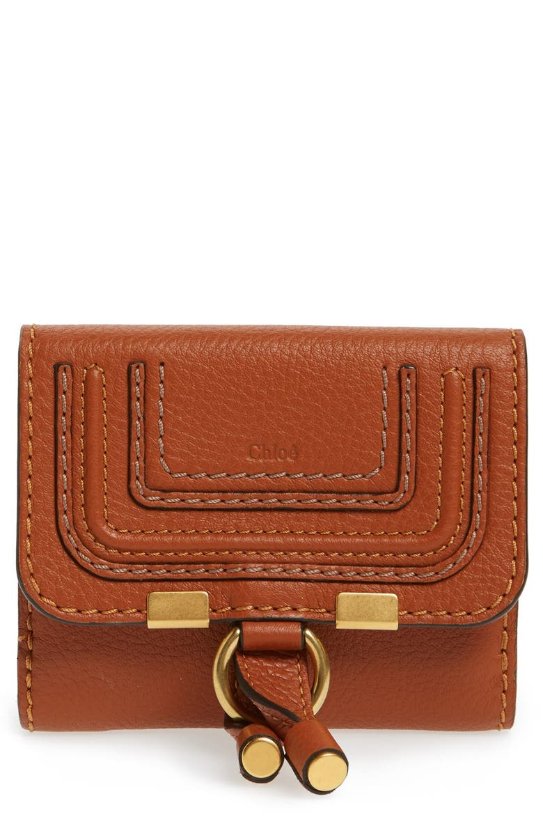 CHLOÉ Marcie Leather French Wallet, Main, color, TAN
