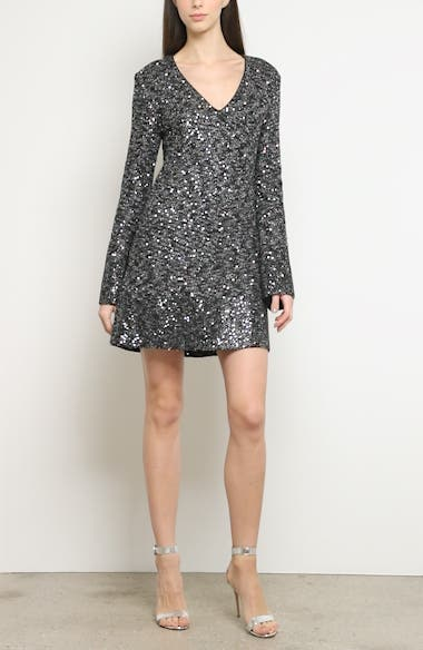 Bejeweled Long Sleeve Texture Knit Cocktail Dress, video thumbnail