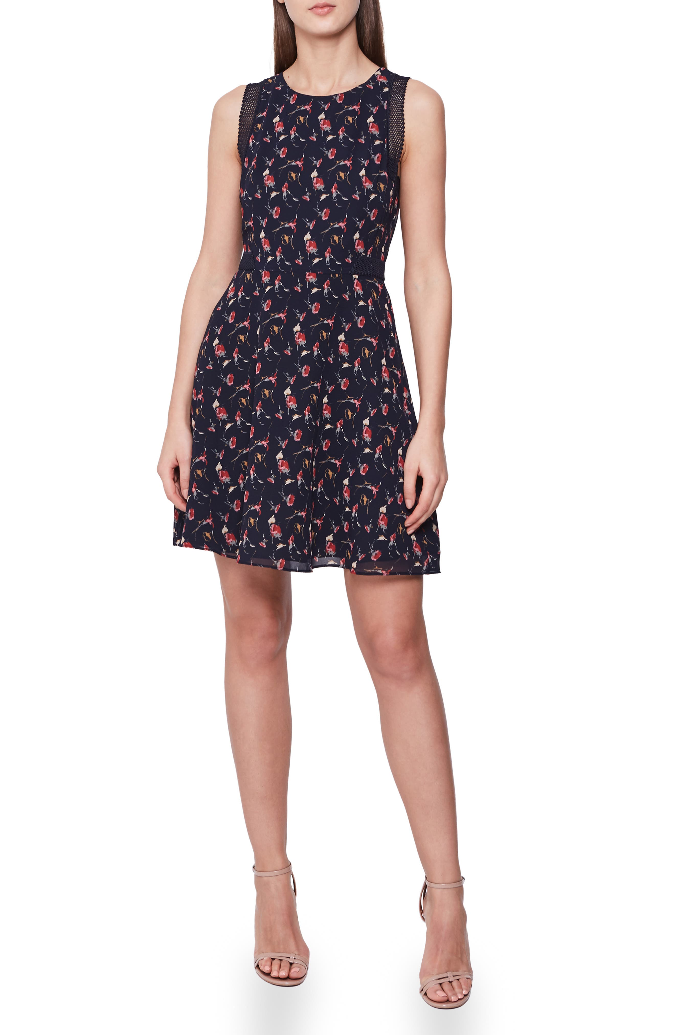 Reiss Louise Mesh Detail Floral Sleeveless Fit & Flare Dress, US / 6 UK - Black