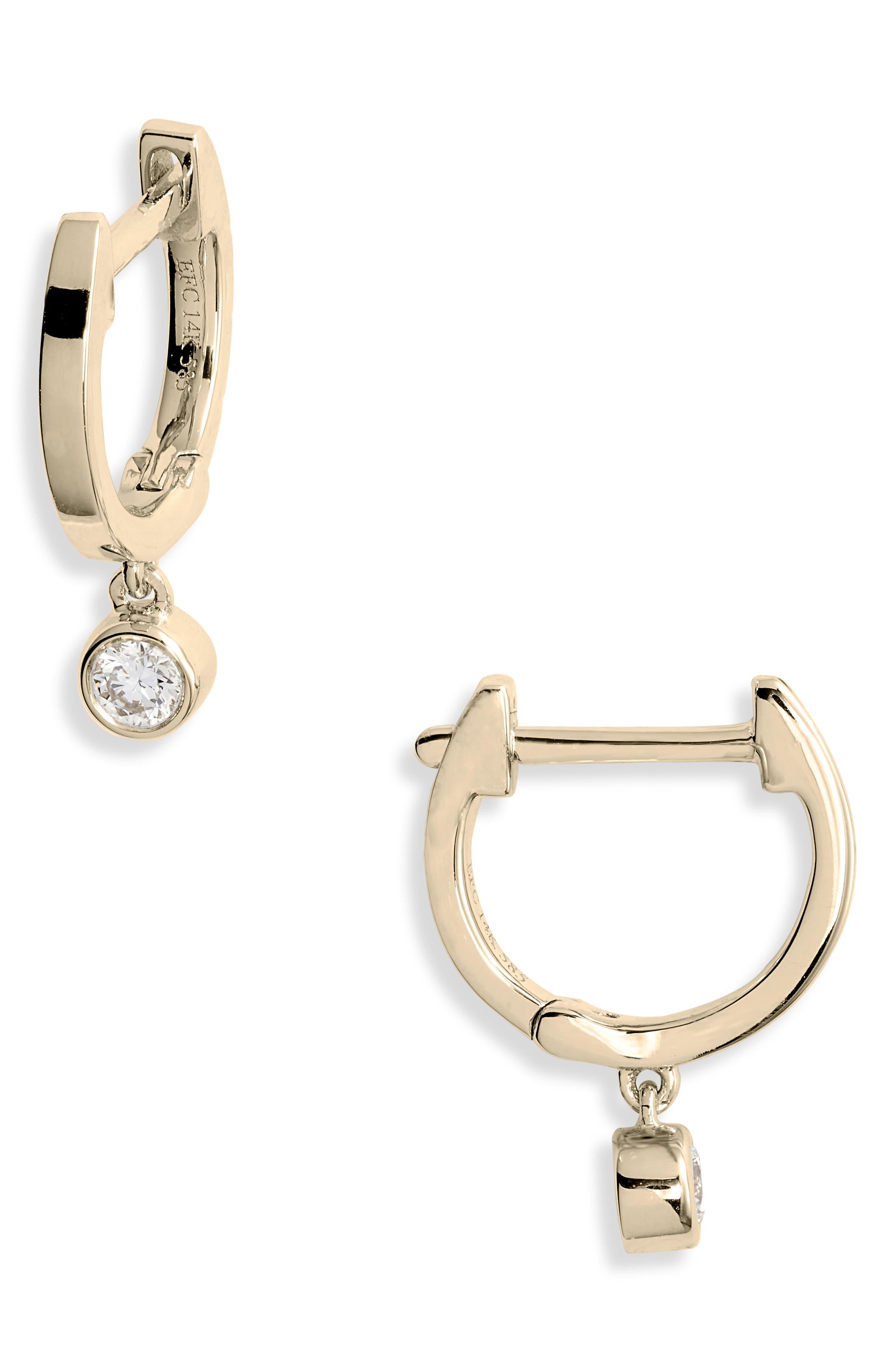 Bezel Diamond Huggie Hoop Earrings, Main, color, YELLOW GOLD/ DIAMOND
