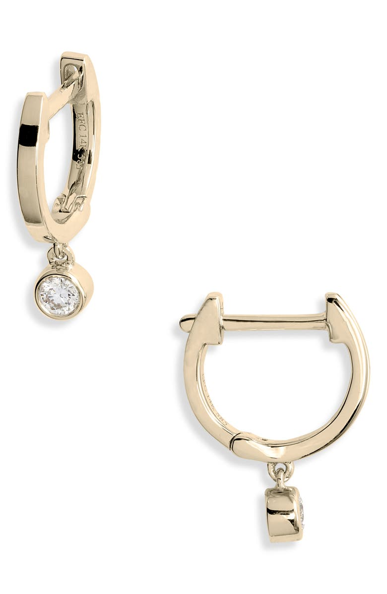 EF COLLECTION Bezel Diamond Huggie Hoop Earrings, Main, color, YELLOW GOLD/ DIAMOND