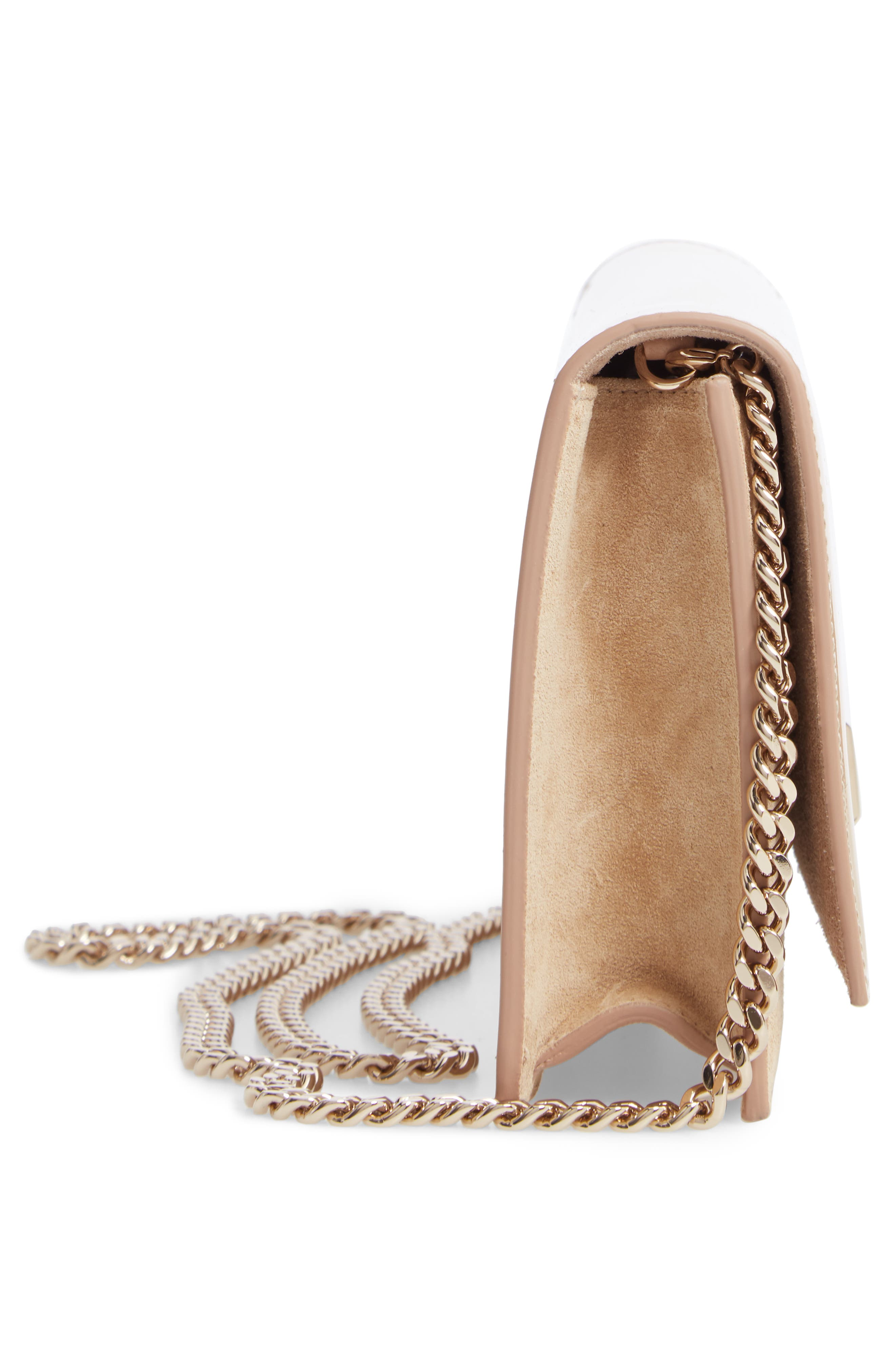 ,                             Lizzie Patent Leather & Suede Clutch,                             Alternate thumbnail 5, color,                             NUDE