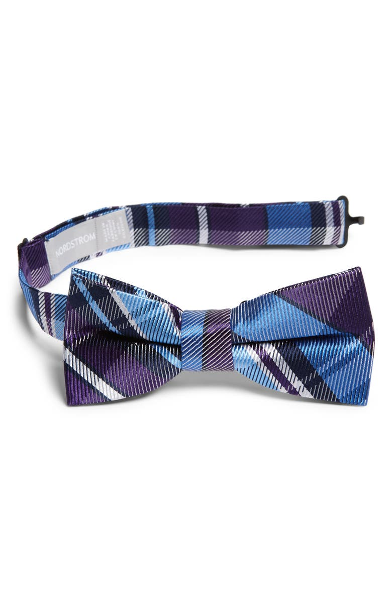 NORDSTROM Jude Plaid Silk Bow Tie, Main, color, BLUE