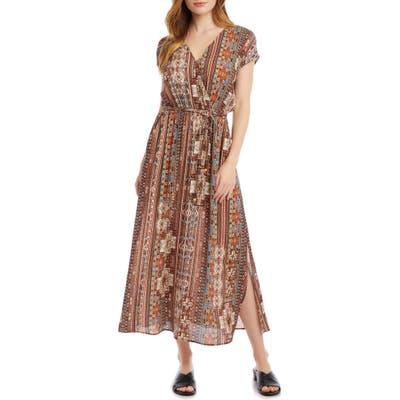 Karen Kane Side Slit Faux Wrap Dress, Brown