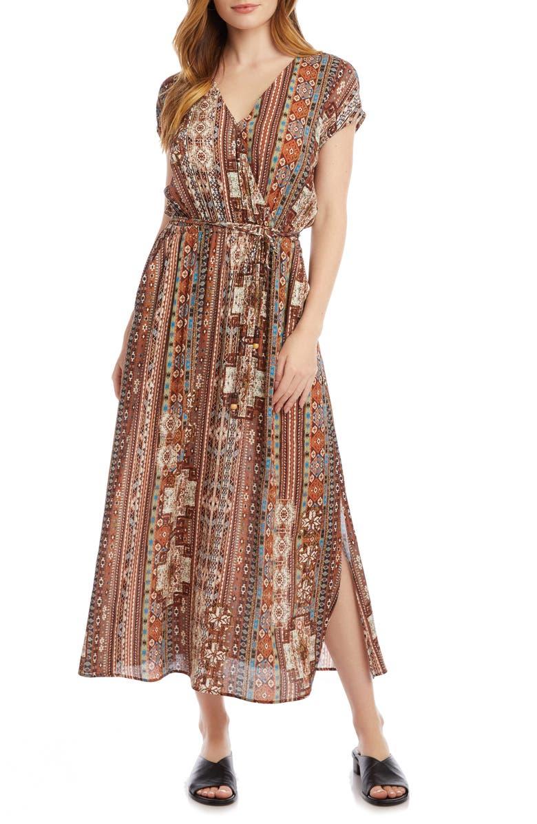 KAREN KANE Side Slit Faux Wrap Dress, Main, color, PRINT