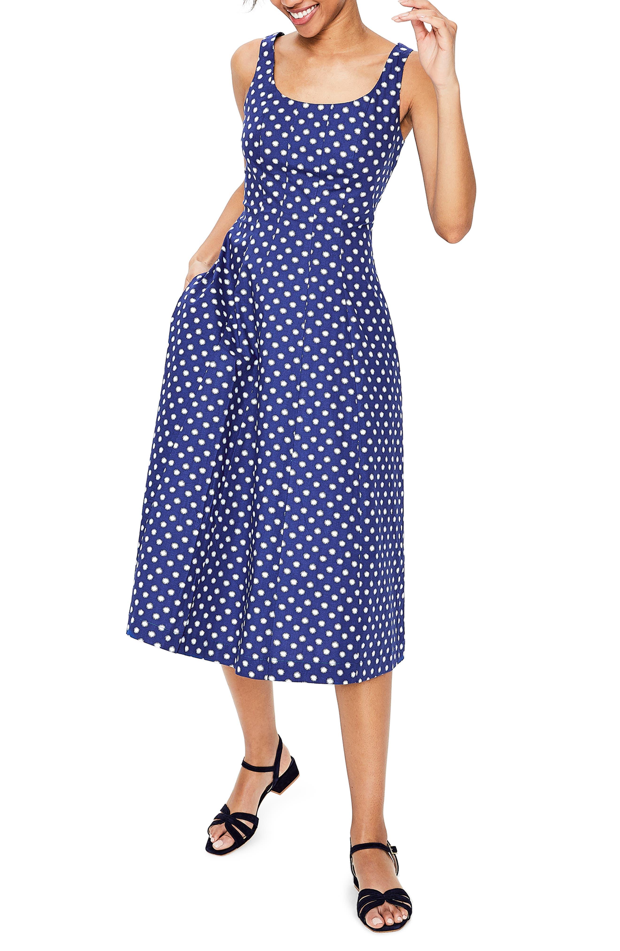 Boden Sabina Fit & Flare Midi Dress, Blue