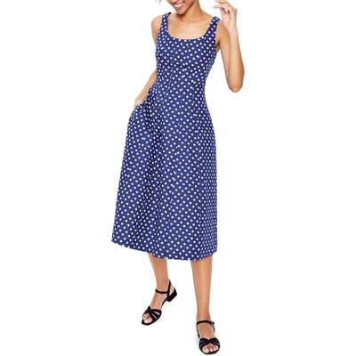 Petite Boden Sabina Fit & Flare Midi Dress, Blue