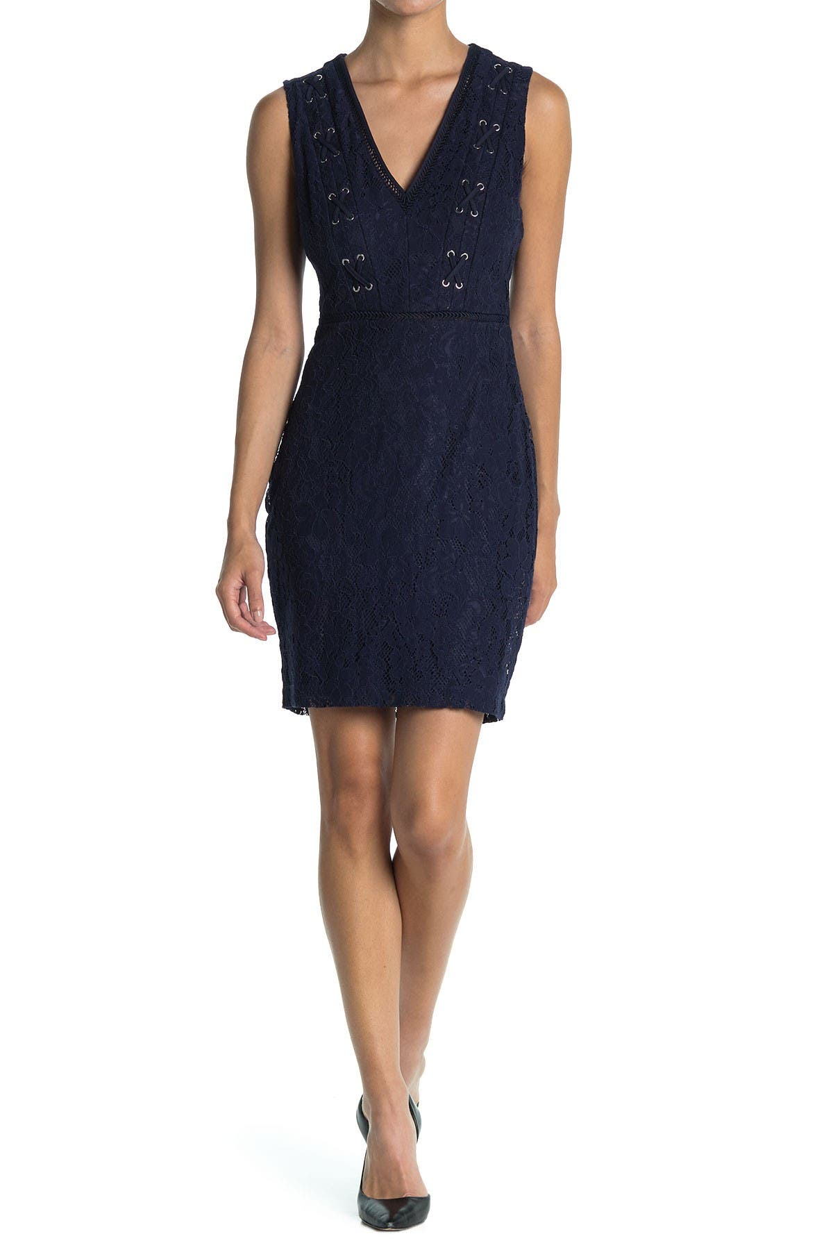 Image of GUESS Lace Overlay Bodycon Dress