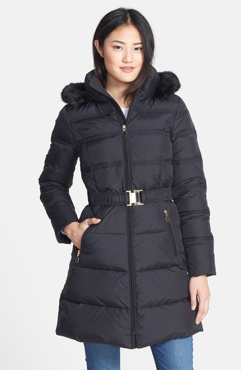 T TAHARI 'Mali' Belted Down & Feather Fill Walking Coat with Faux Fur Trim, Main, color, 001