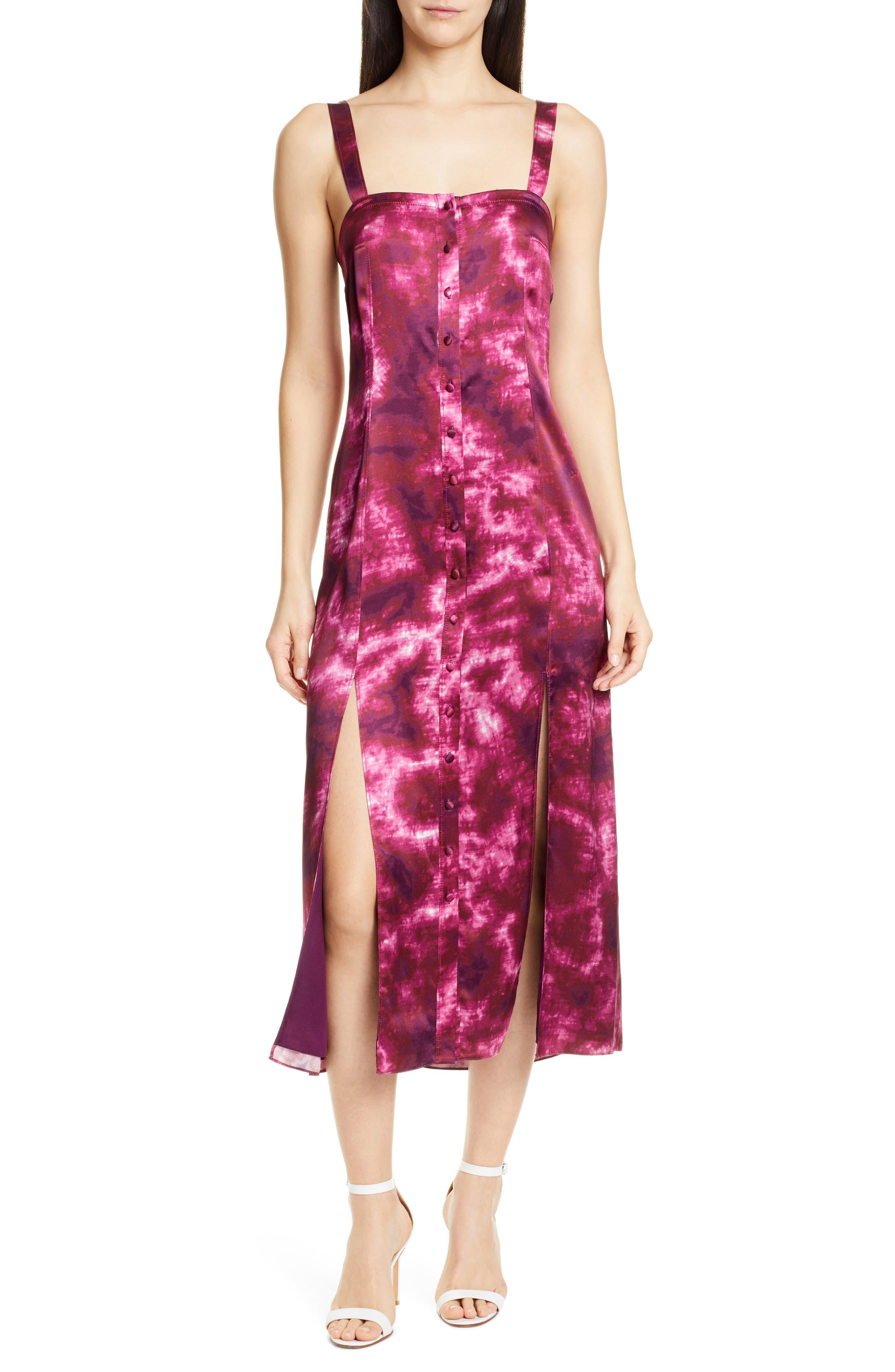 Cinq A Sept Alexa Tie Dye Satin Midi Dress, Purple