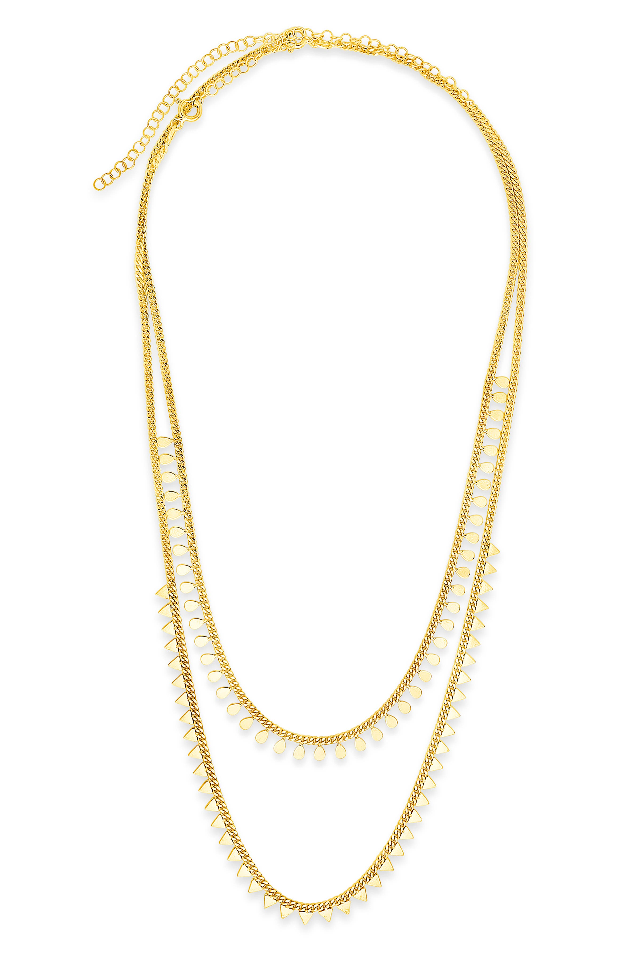 Sculptural geometric shapes add contemporary appeal to a layered necklace styled with two polished curb-link chains. Style Name: Sterling Forever Layered Geometric Charm Necklace. Style Number: 6173943. Available in stores.