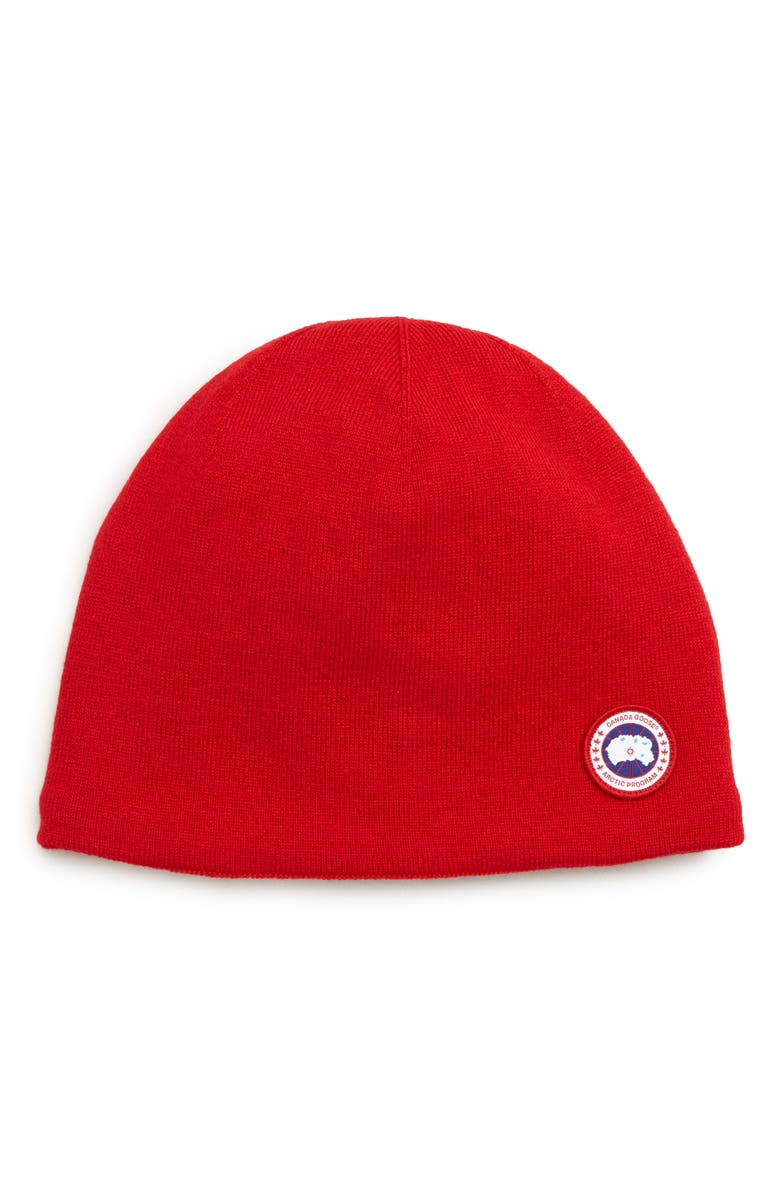 CANADA GOOSE Standard Wool Blend Beanie, Main, color, RED