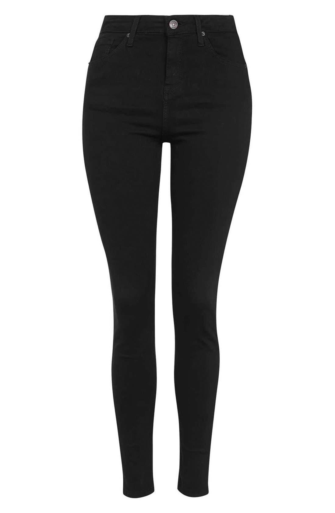 ,                             Moto Jamie High Waist Ankle Skinny Jeans,                             Alternate thumbnail 4, color,                             001