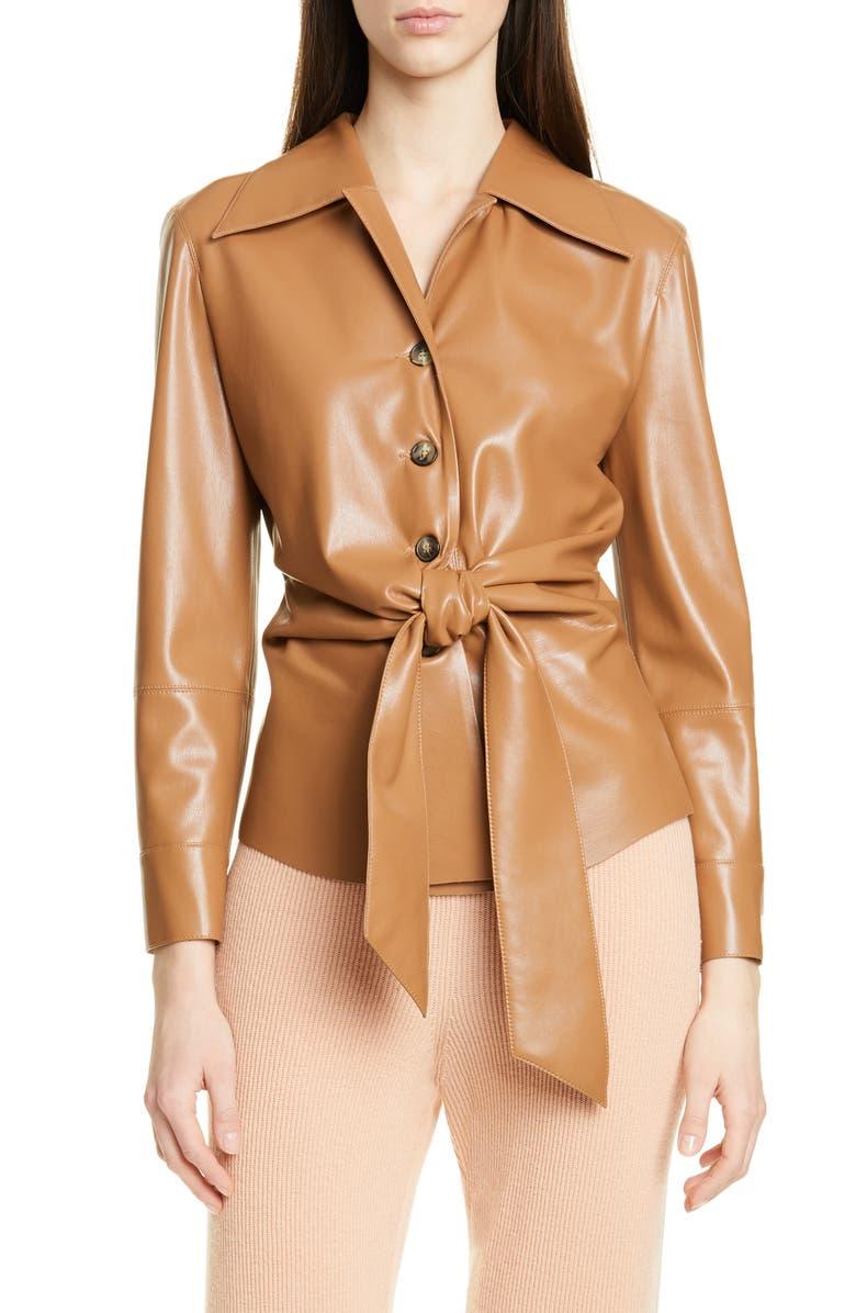 NANUSHKA Poppy Faux Leather Jacket, Main, color, BROWN
