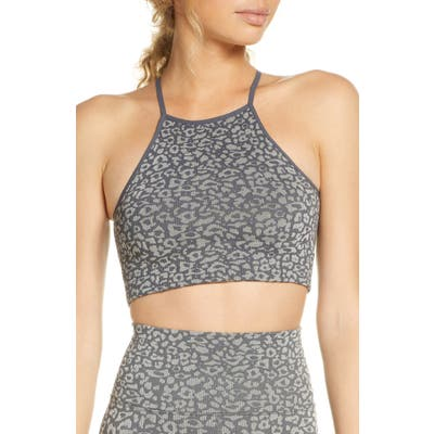 Free People Fp Movement High Neck Leopard Sports Bra, Grey