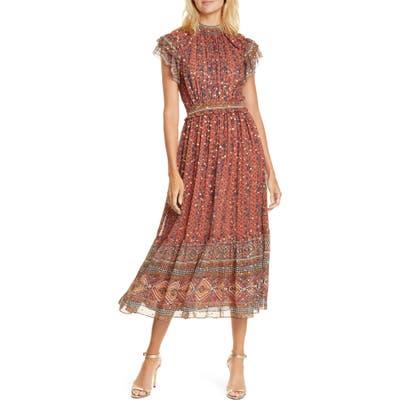 Ulla Johnson Alastair Jacquard Dot Silk Blend Midi Dress, Red