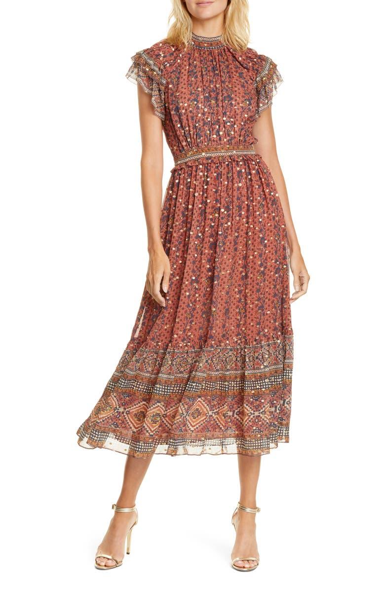 ULLA JOHNSON Alastair Jacquard Dot Silk Blend Midi Dress, Main, color, BRICK