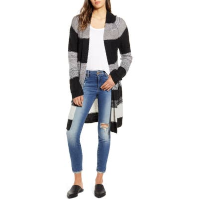 Bp. Bold Stripe Longline Cardigan, Black