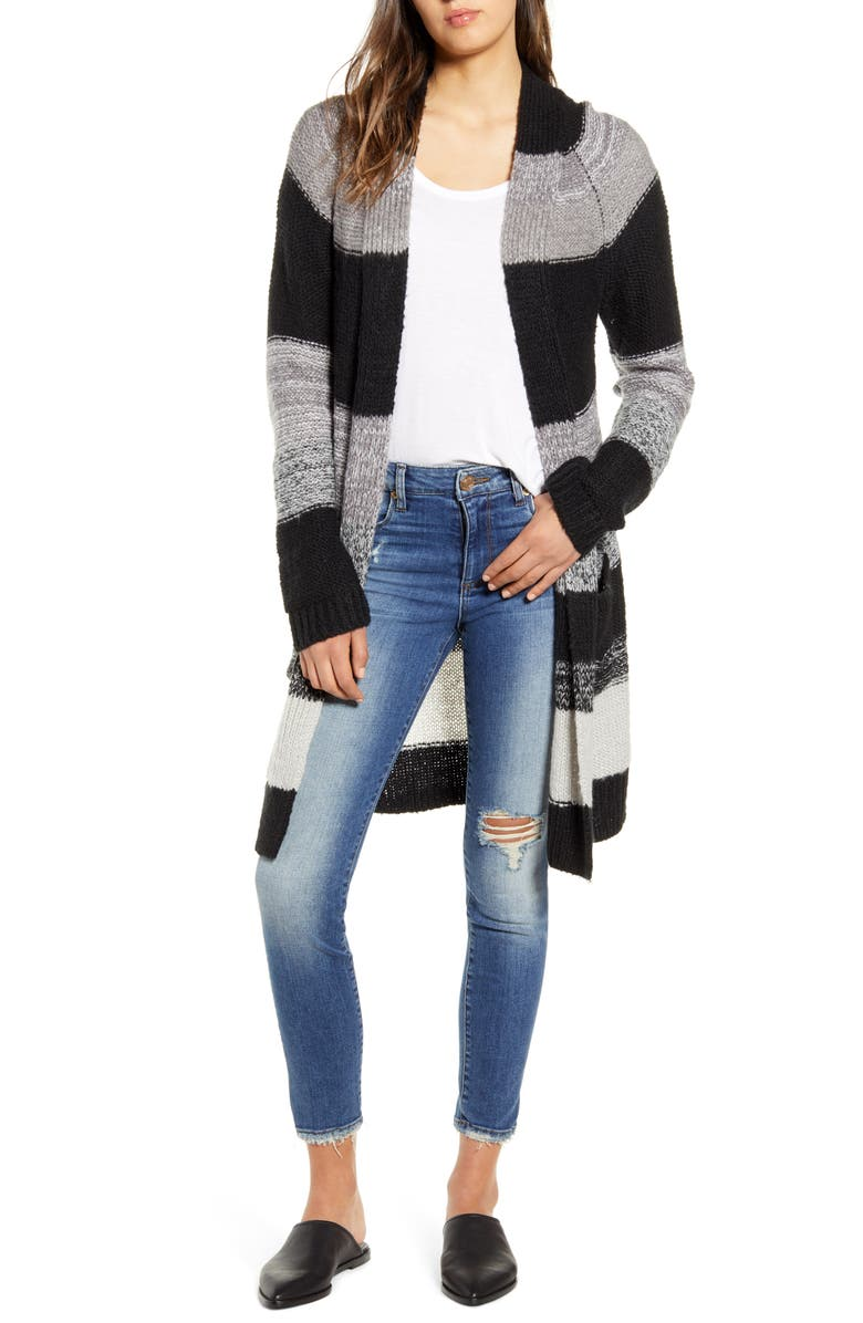 BP. Bold Stripe Longline Cardigan, Main, color, BLACK ABBEY STRIPE