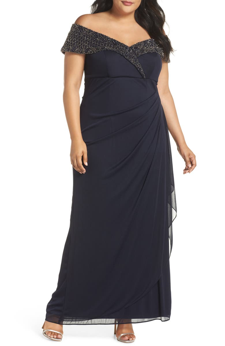 XSCAPE Beaded Off the Shoulder Gown, Main, color, NAVY/ GUNMETAL