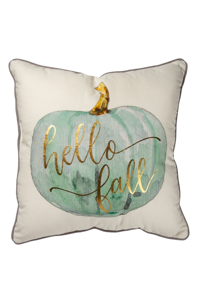 PRIMITIVES BY KATHY Hello Fall Accent Pillow, Main, color, GREEN