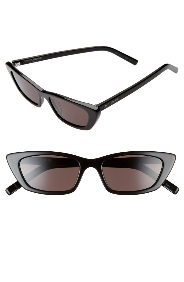 SAINT LAURENT 52mm Cat Eye Sunglasses, Main, color, SHINY BLACK/ GREY SOLID