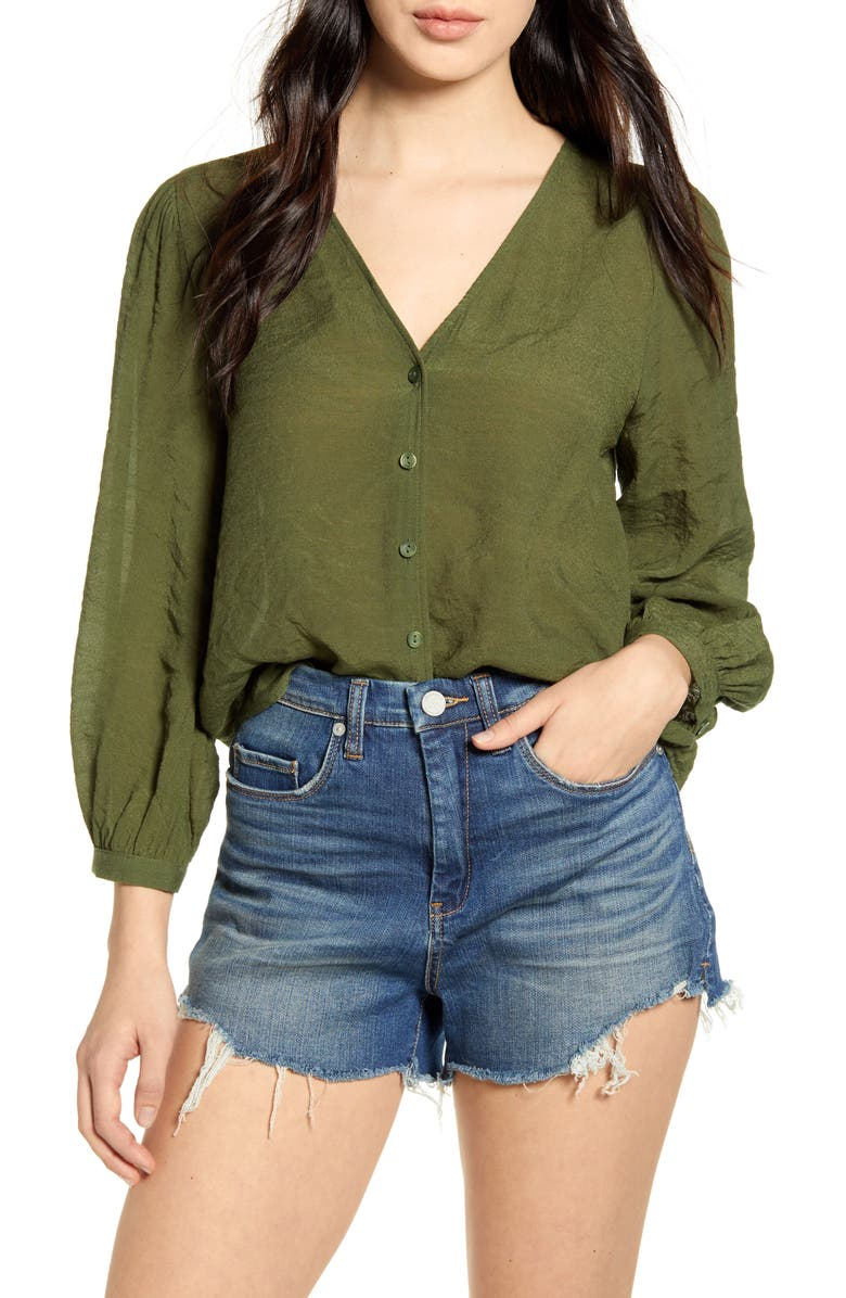 BP. Textured Blouson Sleeve Top, Main, color, GREEN CYPRESS