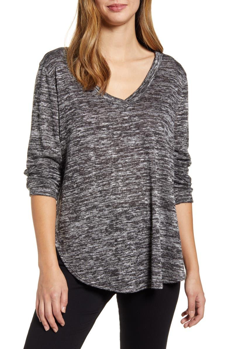 CASLON<SUP>®</SUP> Cozy V-Neck Tunic Top, Main, color, BLACK