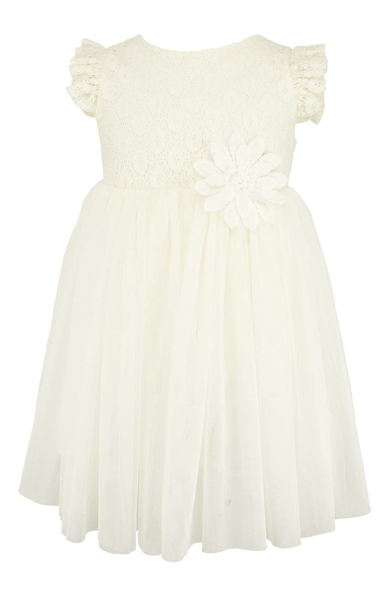 POPATU Flutter Sleeve Lace Dress, Main, color, WHITE