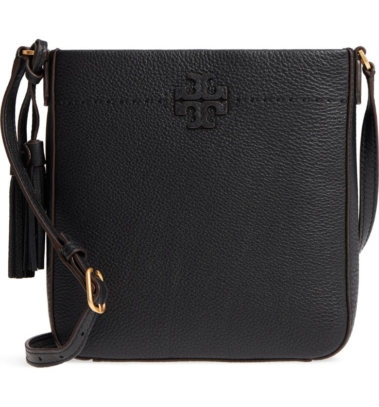 TORY BURCH McGraw Leather Crossbody Tote, Main, color, BLACK