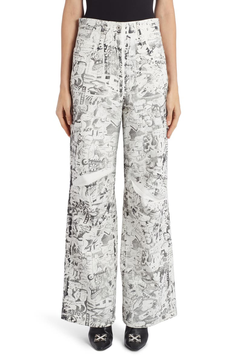 OFF-WHITE Graphite Print Oversized Jeans, Main, color, WHITE ALL OVER