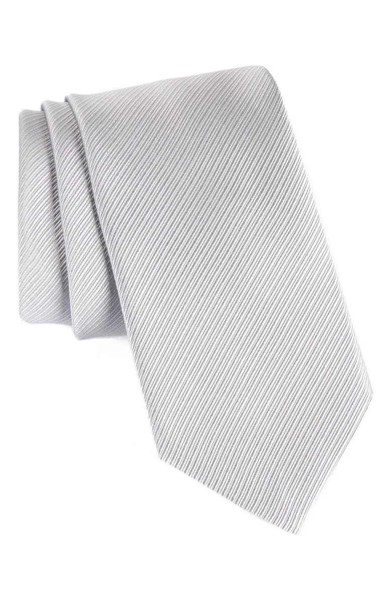 DAVID DONAHUE Stripe Silk Tie, Main, color, SILVER