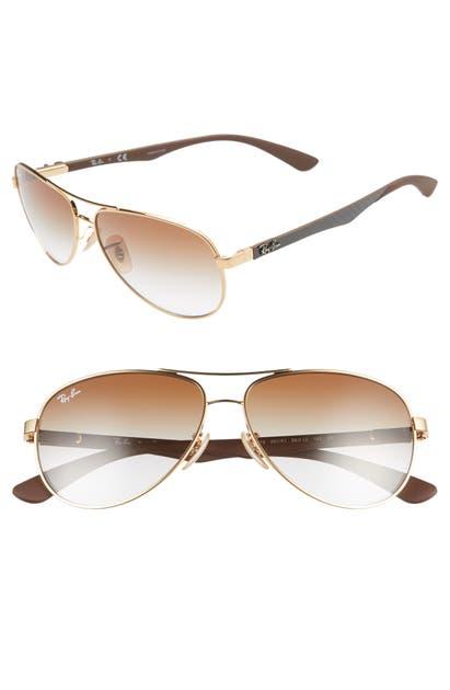 Ray Ban Sunglasses 58MM POLARIZED AVIATOR SUNGLASSES - BROWN GRADIENT