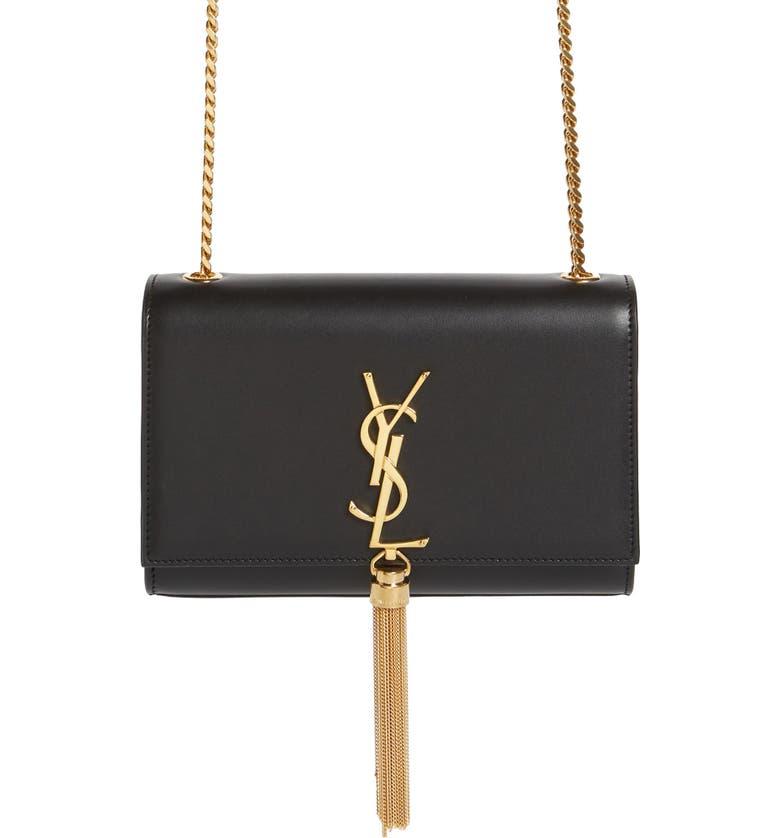 SAINT LAURENT Kate Tassel Calfskin Leather Shoulder Bag, Main, color, NERO