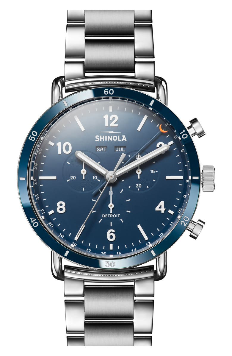 SHINOLA The Canfield Chrono Bracelet Watch, 45mm, Main, color, SILVER/ MIDNIGHT BLUE/ SILVER