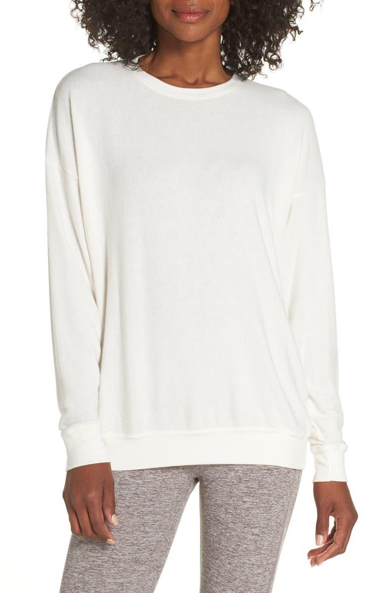 ALO Soho Crewneck Pullover, Main, color, PRISTINE HEATHER