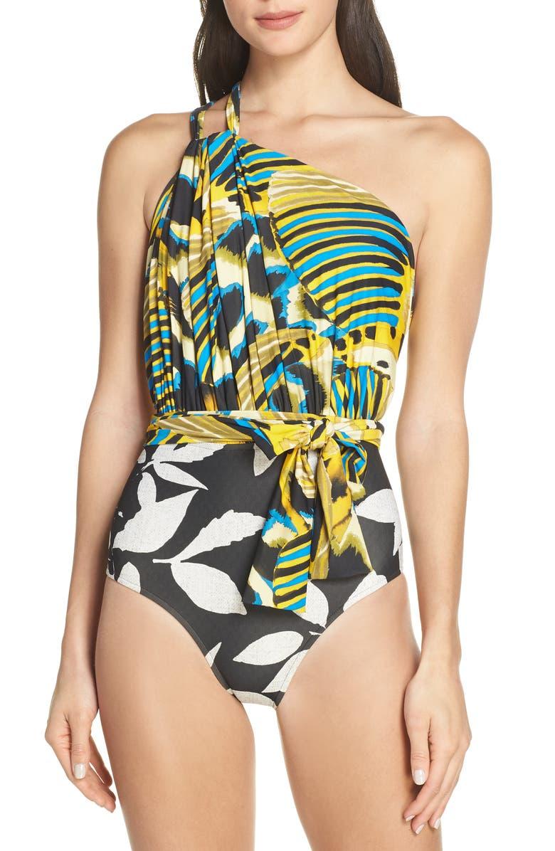 LENNY NIEMEYER Greek One-Shoulder Wrap One-Piece Swimsuit, Main, color, 700