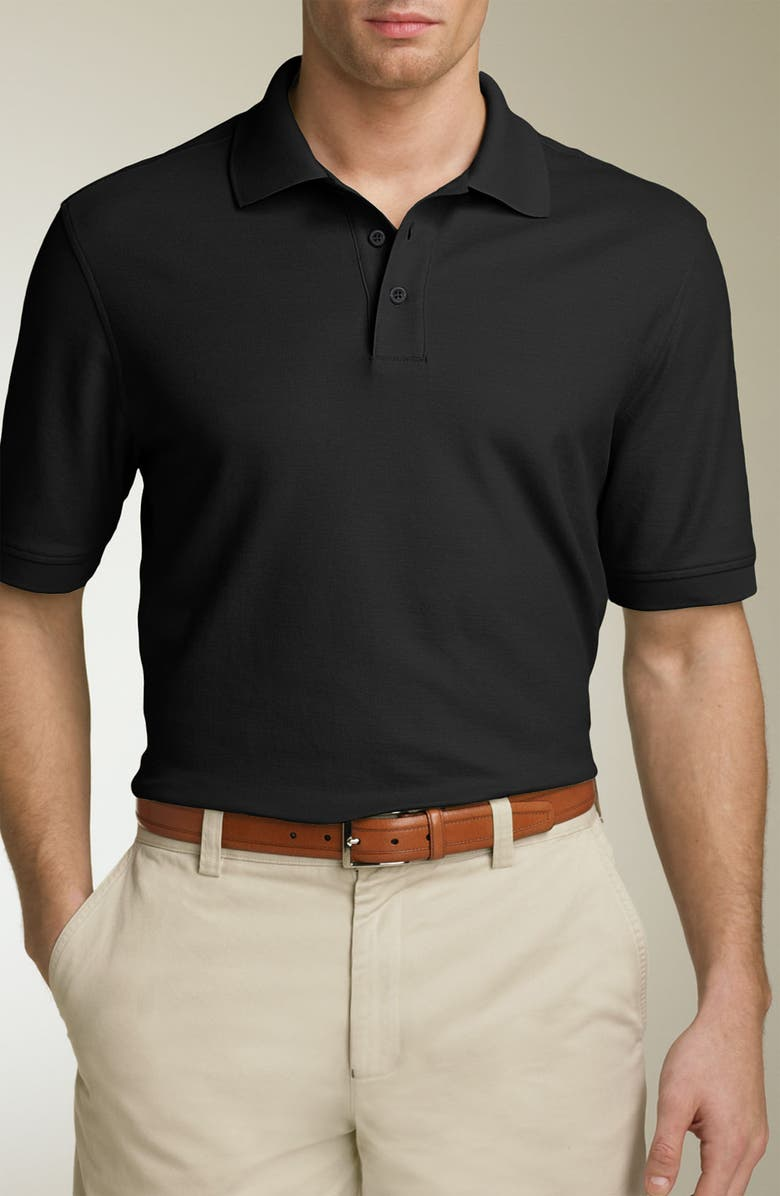 NORDSTROM Traditional Fit Fine Piqué Polo, Main, color, 001