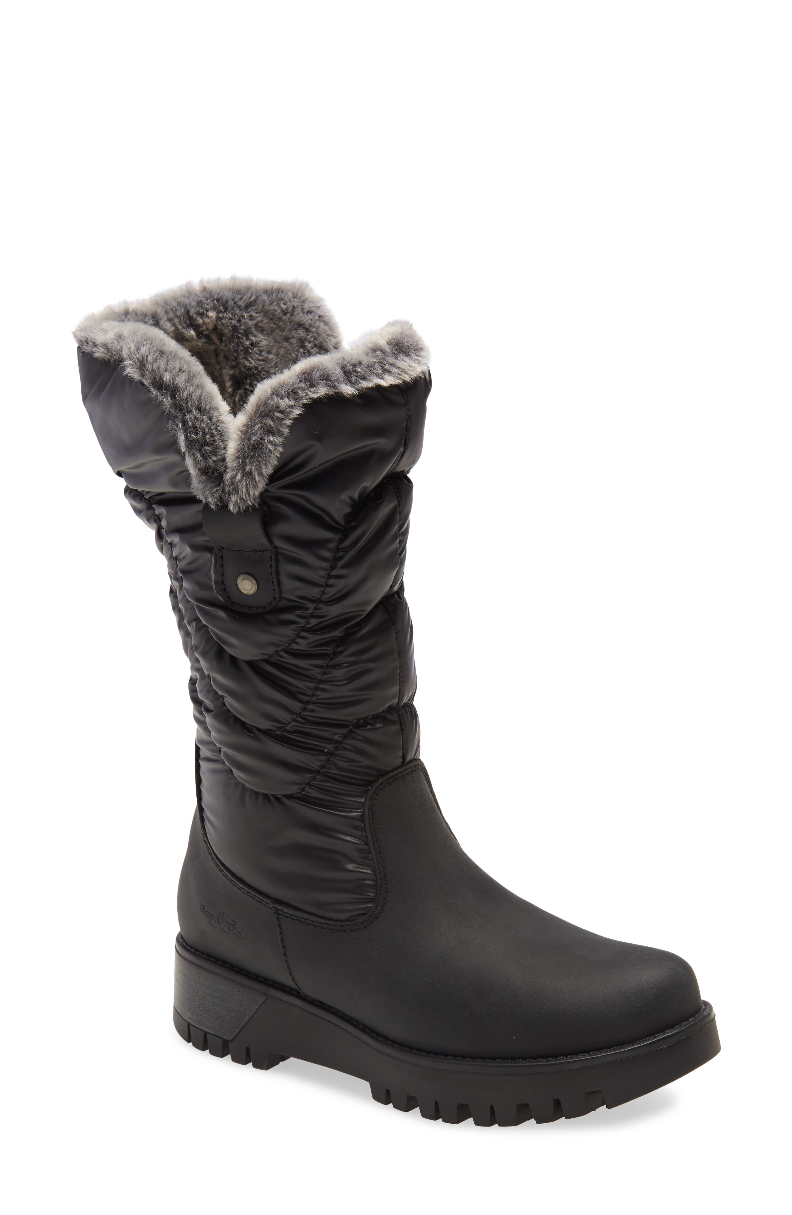 Stomp through the snow in style and comfort with this Primaloft-insulated leather boot lined in merino wool and featuring a fold-over shaft. The chunky lugged sole helps you keep a grip in treacherous, icy terrain, while a reflective back strip enhances visibility. Style Name: Bos. & Co. Astrid Primaloft Wool Lined Waterproof Boot (Women). Style Number: 6086136. Available in stores.