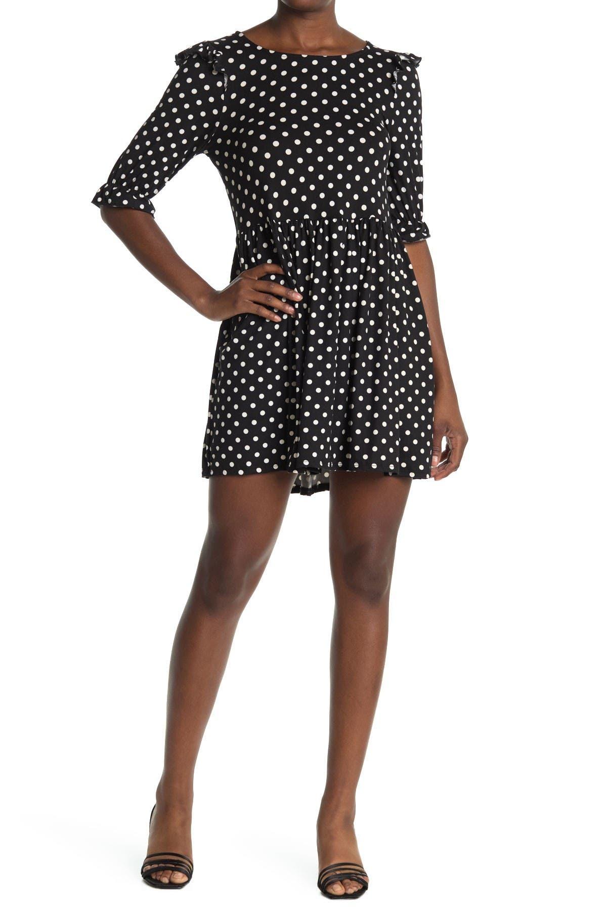 Image of Velvet Torch Polka Dot Ruffle Babydoll Dress