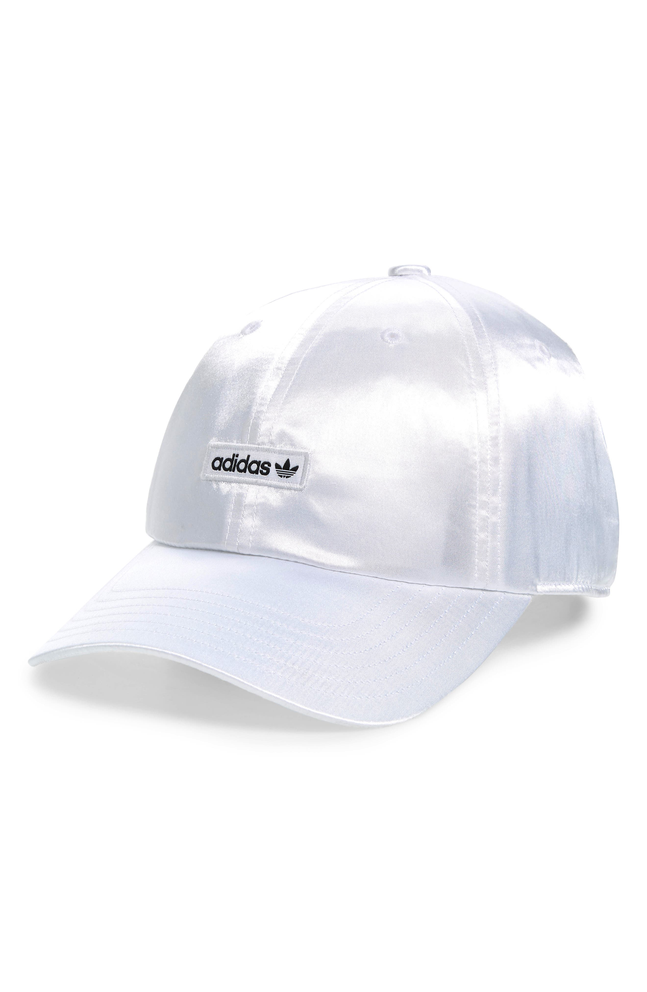 ,                             Originals Metallic Relaxed Strap Back Hat,                             Main thumbnail 1, color,                             WHITE/ BLACK