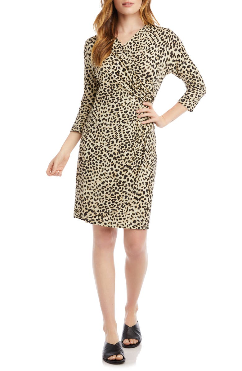 KAREN KANE Leopard Cascade Faux Wrap Dress, Main, color, 900