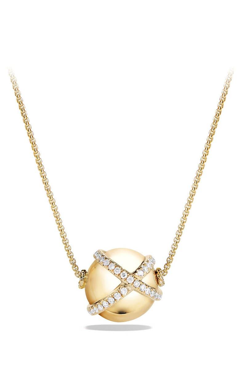 DAVID YURMAN 'Solari' Wrap Pendant Necklace with Pavé Diamonds in 18k Gold, Main, color, 701