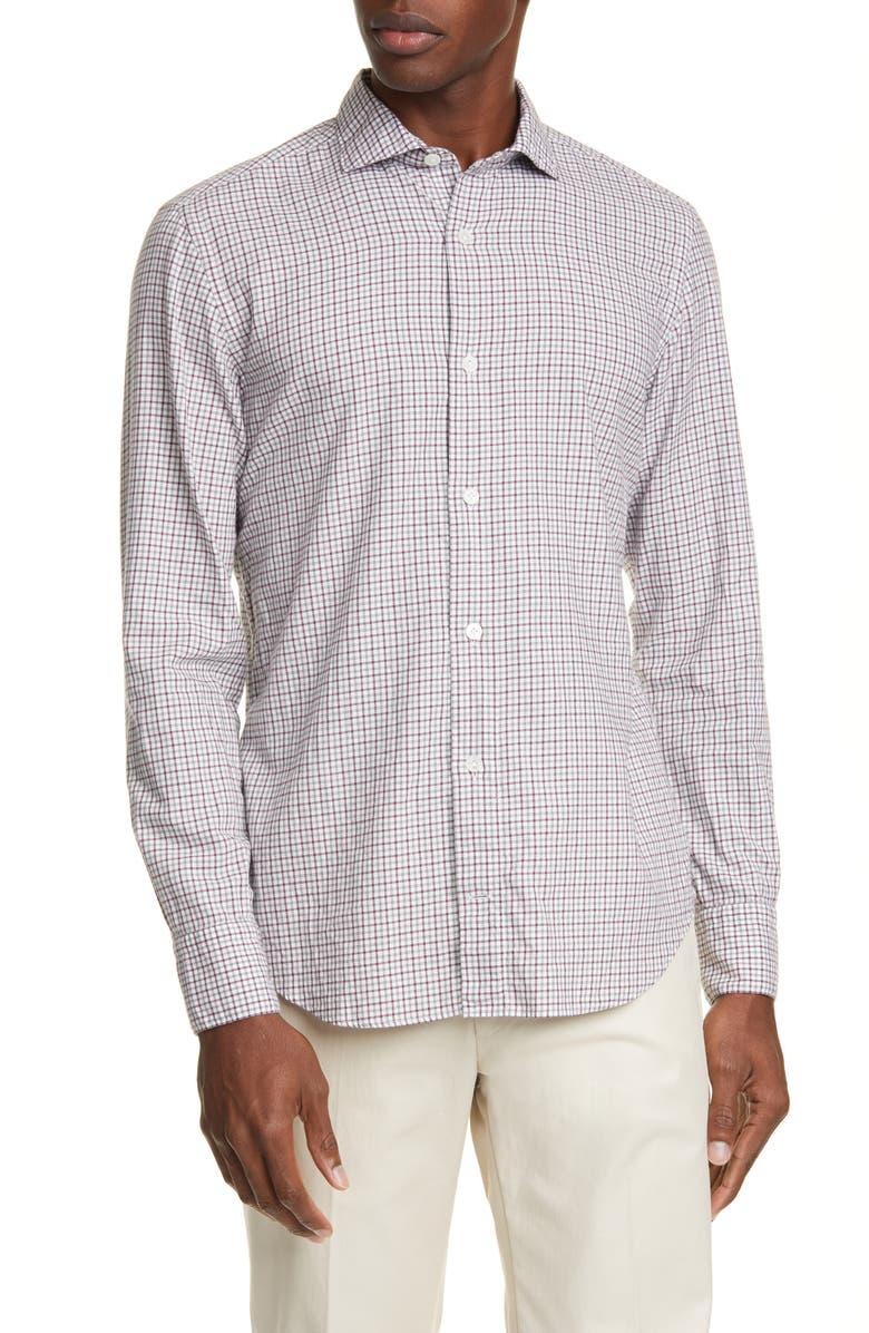 ELEVENTY Trim Fit Check Button-Up Shirt, Main, color, RUBY