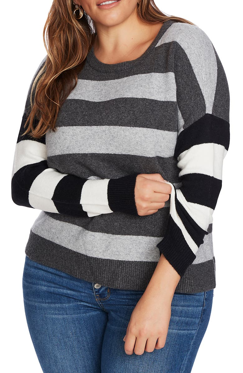COURT & ROWE Stripe Sweater, Main, color, MEDIUM HEATHER GREY