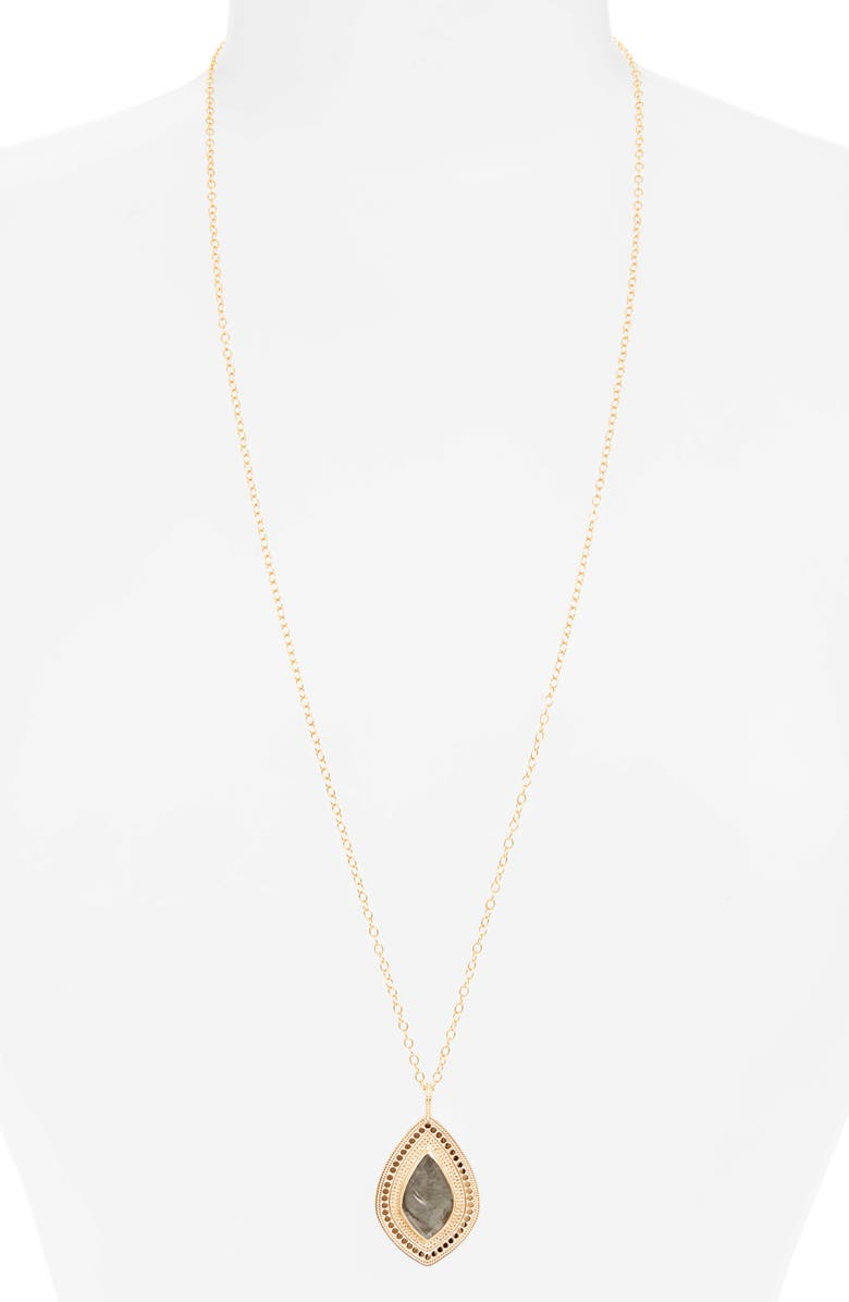 ANNA BECK Quartz Kite Pendant Long Necklace, Main, color, GOLD/ GREY QUARTZ