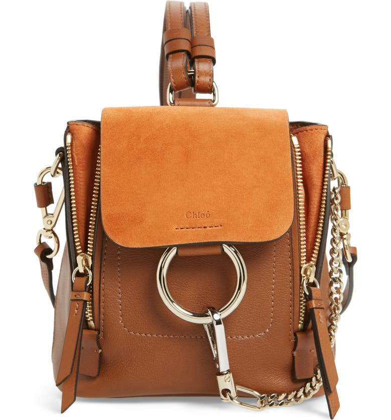 248204ab81f9 Chloé Mini Faye Leather & Suede Backpack | Nordstrom